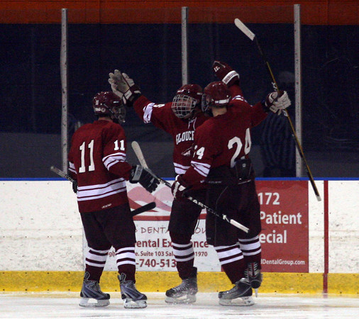 Salem: Gloucester's Ben Chianciola, Sal Taormina and Coltyn Rivas celebrate Taormina's goal in the second period of their season opener against Beverly at Rockett Arena last night. The Fishermen lost 3-2. Photo by Kate Glass/Gloucester Daily Times