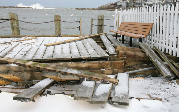 Rockport: Several planks from the town dock at the end of T Wharf in Rockport were lifted off in the storm. Photo by Kate Glass/Gloucester Daily Times