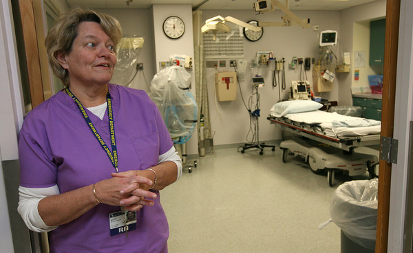 Gloucester: Ruth George, a Nurse Manager in the Emergency Room at Addison Gilbert Hospital, discusses the types of services the emergency staff provides. Photo by Kate Glass/Gloucester Daily Times