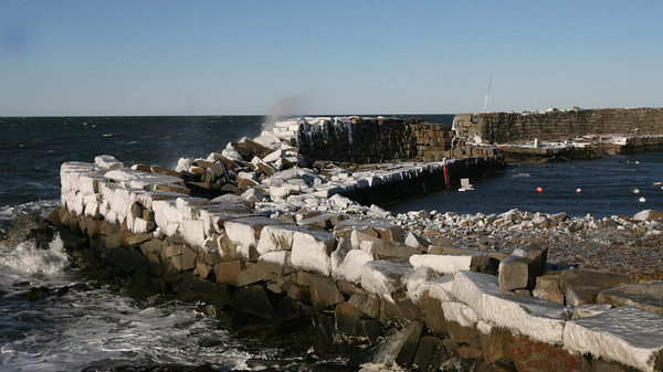 Gloucester: The seawall at Lanes Cove sustained heavy damage from this weekend's snowstorm. Photo by Kate Glass/Gloucester Daily Times