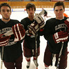 Gloucester: Vincenzo Terranova, Connor Cranston, and Coltyn Rivas, all junior defensemen on the Gloucester hockey team, have been playing at the varsity level since their freshman year. Photo by Kate Glass/Gloucester Daily Times