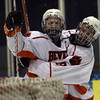Salem: Beverly's Mitch Hamor and Troy Cabral celebrate Hamor's second goal during their game against Gloucester at Rockett Arena last night. Beverly won 3-2. Photo by Kate Glass/Salem News