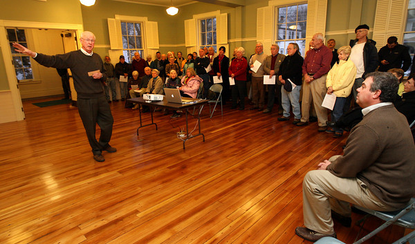Rockport: Bob Burbank talks about the history of the Rockport Community House during a ceremony turning over management of the building to the town. Another grand opening will be held at a later date when the Senior Center is ready to open. Photo by Kate Glass/Gloucester Daily Times