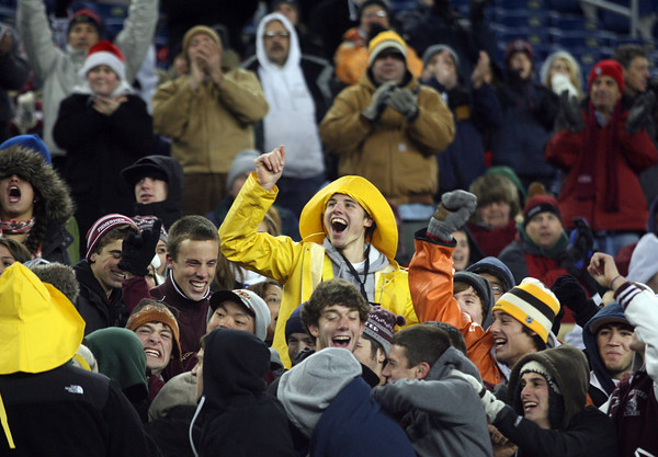 Foxborough: Gloucester fans cheer as the Fishermen score a touchdown during the Division IA Super Bowl against Bridgewater-Raynham at Gillette Stadium on Saturday night. Photo by Kate Glass/Gloucester Daily Times