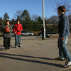 Gloucester: Jose Medina, Steven Tettoni, and Nick Sanfilippo play basketball at O'Maley after school on Thursday. Photo by Kate Glass/Gloucester Daily Times