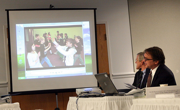 Malden: Tony Blackman, Executive Director of the Gloucester Community Arts Charter School, makes a presentation to the Board of Elementary and Secondary Education at their headquarters in Malden on Tuesday. Photo by Kate Glass/Gloucester Daily Times