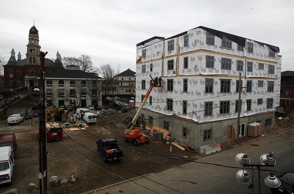 Gloucester: All of the modulars are in place for the new apartment building on the site of the former Lorraine building. The building was erected within 48 hours. Photo by Kate Glass/Gloucester Daily Times