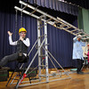 Gloucester: Nicky Cosgrove is hoisted by East Gloucester Elementary School student Michelle Allen during a Techsploration program taught by Tom Wahle at the school last week. The program introduced students to technology, science, math and problem solving using levers, pulleys and gears. Photo by Kate Glass/Gloucester Daily Times