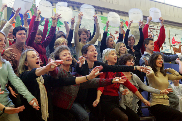 """Manchester: The faculty at Manchester Elementary School sing """"Marshmallow World"""" as the finale to the school's Holiday Concert Friday monring. Mary Muckenhoupt/Gloucester Daily Times"""