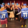 "ALLEGRA BOVERMAN/Staff photo. Gloucester Daily Times. Gloucester: During rehearsal of ""Holiday Delights,"" a holiday celebration of stories, songs and dance by the Gloucester Stage Youth Acting Workshops. This is a scene from the ""Contemporary Hanukkah"" scene."