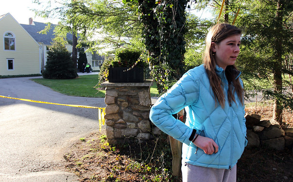 ALLEGRA BOVERMAN/Staff photo. Gloucester Daily Times. Essex: F<br /> Gracie Schylling, 14, of 72 Belcher Street in Essex, talks about how she discovered the fire at her house on Friday afternoon.