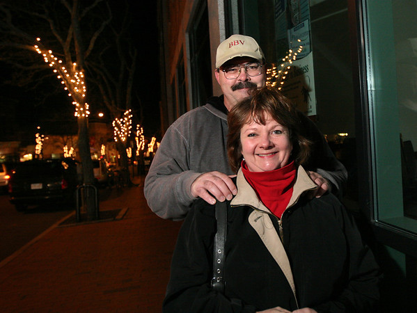 ALLEGRA BOVERMAN/Staff photo. Gloucester Daily Times. Gloucester: Carol Styczko of Gloucester won the Winner Takes All $1,100 downtown shopping spree. She is downtown with her husband, John Styczko.