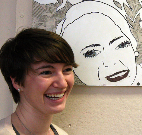 ALLEGRA BOVERMAN/Staff photo. Gloucester Daily Times. Rockport: Rockport High School senior Katie Reilly talks about her self portrait  during the opening of Gallery 24 @Jerdens Lane on Thursday afternoon. The gallery is student-run and meant to feature the art of students and faculty.