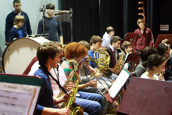 The band at Rockport Public High School, gets warmed up to rehearse on Thursday morning in preparation for the Holiday Winter Concert that night. Jesse Poole/Gloucester Daily Times Dec. 15, 2011