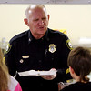 Courtesy photo/Gloucester Daily Times. Rockport: Members of the Rockport Police Department served lunch to Rockport Elementary School students on Friday. The school and police department have been planning to do this for a while and hope to make it a new tradition. Sgt. Bob Tibert jokes with students while serving a turkey dinner.