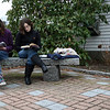 ALLEGRA BOVERMAN/Staff photographer. Gloucester Daily Times. Rockport: From left, Lydia Vincent, 14, and Soni Razdan, 15, both of Rockport, read books while waiting for a friend participating in an activity at St. Mary's Episcopal Church in downtown Rockport on Tuesday afternoon. They were waiting to give her a plate full of cupcakes.