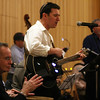 ALLEGRA BOVERMAN/Staff photo. Gloucester Daily Times. Gloucester: <br /> During the community Hanukkah party held at Temple Ahavat Achim in Gloucester on Tuesday evening. David Wesson, center, the temple's director of education and programming, performs with Alle Brider, the temple band.