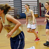 ALLEGRA BOVERMAN/Staff photo. Gloucester Daily Times. Gloucester: From left, Gloucester Girls Varsity Basketball team members during their practice on Wednesday are Heather Cain, Katie Ciaramitaro, Julia Lamoureux and Sam Oliver.