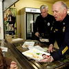 Courtesy photo/Gloucester Daily Times. Rockport: Members of the Rockport Police Department served lunch to Rockport Elementary School students on Friday. From left are: Patrolman Roger Lesch and Sgt. Bob Tibert. Fourth grader Jayce Rowen, far left, chats wtih Tibert. The school and the police department have been planning to do this for a while and hope to make it a new tradition.