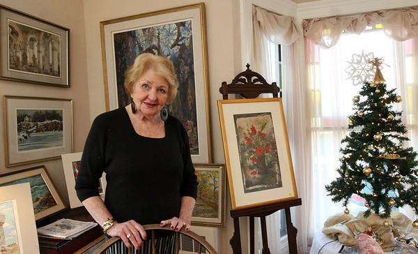 ALLEGRA BOVERMAN/Staff photo. Gloucester Daily Times. Rockport: Carol Carlson in the Carlson Gallery at her home in Rockport. Her late husband Sven Ohrvel Carlson and she were and are artists and musicians.