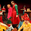 "ALLEGRA BOVERMAN/Staff photo. Gloucester Daily Times. Gloucester: During rehearsal of ""Holiday Delights,"" a holiday celebration of stories, songs and dance by the Gloucester Stage Youth Acting Workshops. At center, from left, are Lily Armstrong, as Lily, and Jessica Ingaharro as Mrs. Claus, walking in the elves workshop."
