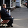 Courtesy photo/Gloucester Daily Times. Rockport: Vince Sitoski of Rockport enjoys the pleasant and mild weather on Thursday in downtown Rockport with a cup of coffee.