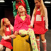 "ALLEGRA BOVERMAN/Staff photo. Gloucester Daily Times. Gloucester: During rehearsal of ""Holiday Delights,"" a holiday celebration of stories, songs and dance by the Gloucester Stage Youth Acting Workshops. Seated at center is Lily Armstrong, as Lily, and clockwise from top are Jessica Ingaharro as Mrs. Claus, Olivia Osterman as elf assistant No. 2, and Sedona Gillard, as elf assistant No. 1."