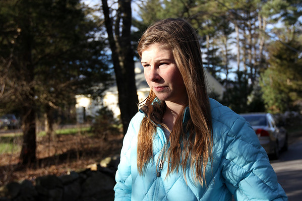 ALLEGRA BOVERMAN/Staff photo. Gloucester Daily Times. Essex: Gracie Schylling, 14, of 72 Belcher Street in Essex, talks about how she discovered the fire at her house on Friday afternoon.