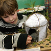 ALLEGRA BOVERMAN/Staff photo. Gloucester Daily Times. Gloucester: West Parish third grader Haylen Caddle discusses his research about  the Algonquin Indian nation during his class's Native American presentation on Wednesday at the school. Each student in the class did extensive research about different Native American nations, wrote up their research, complete with illustrations, and created dioramas of how each nation set up their homes and then presented their findings to other students and parents.