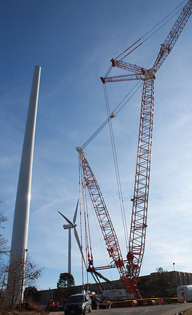 Jim Vaiknoras/Gloucester Times: The third turbine being constucted at the Blackburn Industrial Park in Gloucester.