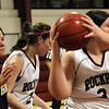 Allegra Boverman/Gloucester Daily Times. Rockport's Kayla Parisi, right,  in action against Greater Lowell Tech on Tuesday evening in Rockport. Rockport lost 42-16.