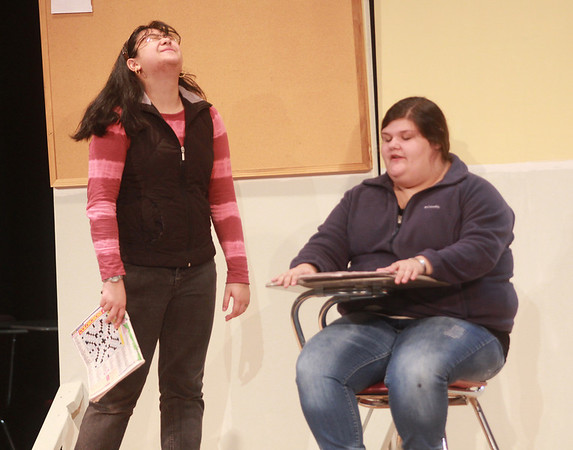 Jim Vaiknoras/Gloucester Times: Pauline Cruz as Iris the Brain and Sabrina Siragusa as Janice the Slacker in the Gloucester High Production of Apostrophe's. The one act comedy written by Bradley Hayward will be performed at the GHS auditorium on Friday, December 14th – Saturday December 15th at 7 pm and again on Sunday, December 16th at 2 pm.
