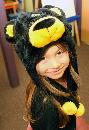 Allegra Boverman/Gloucester Daily Times.  It was Crazy Hat Day at the Gloucester Community Arts Charter School on Friday. Kindergartener Abby Corbett wore her Bruins hat.