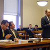 James Niedzinski/Gloucester Daily Times. Christopher Weld Jr, of Todd and Weld LLP, makes his statements to Judge Thomas Murtagh as Gregg Corbom, left, and Jeffrey Blake look on.
