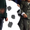 MARIA UMINSKI/GLOUCESTER DAILY TIMES Kindergartener Ethan Tschida happily plays the part of a snowman during Veterans Memorial Elementary's Holiday Sing-a-Long on Thursday.