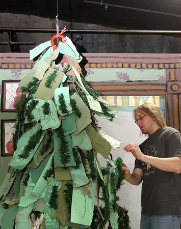 "Allegra Boverman/Gloucester Daily Times. Jamie Wilkinson of the Gloucester Stage Company was working with props and sets on Thursday for the upcoming ""Holiday Delights"" production by the Youth Acting Workshops at Gloucester Stage Company, 267 E. Main St.. The musical show will be performed on Thursday and Friday, Dec. 13 and 14 at 7 p.m., Saturday, Dec. 15 at 3 and 7 p.m., and Sunday, Dec. 16 at 3 p.m."