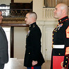 Allegra Boverman/Gloucester Daily Times. Adam Curcuru, left, of Gloucester received a Purple Heart medal on Friday for his injury during his service as a lead gunner in the Third Battalion Sixth Marines in Afghanistan. Lt. Col. David Fallon, center, and Sgt. Maj. Alfredo Franco of Fort Devens were on hand to give him his medal at City Hall.