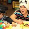 Allegra Boverman/Gloucester Daily Times. It was Crazy Hat Day at the Gloucester Community Arts Charter School on Friday. Kindergarteners Wyatt Geanoulis, left, and Zeila Lebron with their jaunty hats.
