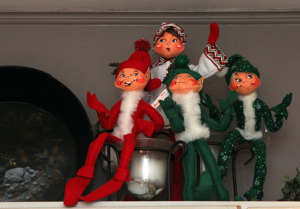 """Allegra Boverman/Gloucester Daily Times. Elves sit merrily atop kitchen cabinets in a 1920s-style home in Rockport that will be part of the second SeaShells and Jingle Bells benefit featuring a holiday inn and house tour takes place on Saturday, Dec. 8 from 1p.m. to 5 p.m. featuring 12 homes and inns. Each site will feature a sampling of food or drink.  Proceeds support the Rockport High School DECA program and marketing classes. Tickets are available at: Rockport Inn and Suites at 183 Main St. and ToadHall Bookstore, both in Rockport, or online at<a href=""""http://seashellsandjinglebellsrkpt.blogspot.com/"""">http://seashellsandjinglebellsrkpt.blogspot.com/</a>."""