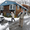 Desi Smith Staff photo/Gloucester Daily Times. John and Eva Korpi of Rockport, shovels out their driveway on Main Street with some help from their neighbor from across the street, Noah Ciaramitaro 13, after Saturday's night storm. December 15,2017