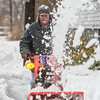 Desi Smith Staff photo/Gloucester Daily Times. Allen Stanish of King Steet Rockport, uses his snowblower to remove snow in front of some of his elderly neighbors on Forest Street after Saturday nights storm. Allan doesn't except money for his good deeds, sometimes a home baked apple pie will be just fine he say's!  December 15,2017
