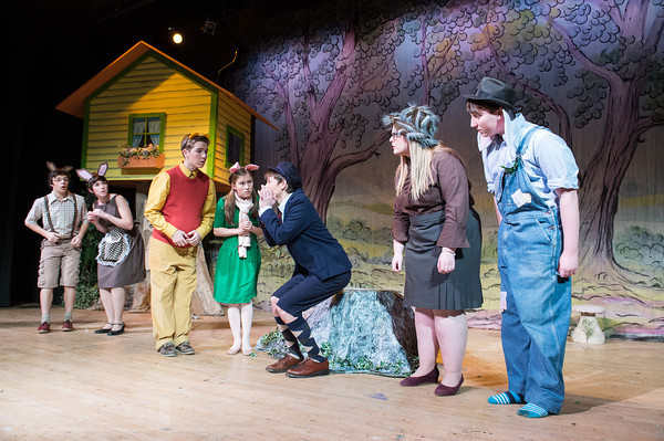 Desi Smith Staff photo/Gloucester Daily Times. Cast members act out a scene during a dress rehearsal Thursday night at Rockport High School in A.A.Milne's, The House at Pooh Coner. The shows will run Dec.13-15 at the John E. Lane Performing Arts Center at Rockport High School.