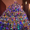 Desi Smith Staff photo/Gloucester Daily Times.  The Lobster Trap Tree all lit up at the annual lighting Saturday night at the Gloucester Police Station on Main Street.