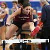 KEN YUSZKUS/Staff photo.  Gloucester's Kaitlin Marques wins the girls hurdles race at the Gloucester at Swampscott indoor track meet.  12/14/15.