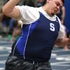 KEN YUSZKUS/Staff photo.  Swampscott's C J Nunez competes in the shot put at the Gloucester at Swampscott indoor track meet.  12/14/15.