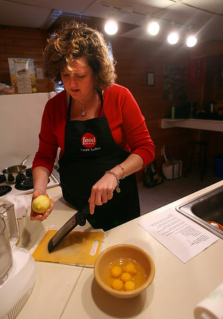 Essex: Laurie Lufkin of Essex shows how to make her lemon squares. Photo by Kate Glass/Gloucester Daily Times Monday, February 9, 2009