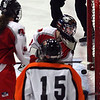 Gloucester: Masconomet goalie Alex Jones watches as a shot by Beverly's Katelyn DeSimone slips behind her to put Beverly up 3-1 at the Talbot Rink in Gloucester last night. Masco tied it up with seconds left in the game. Photo by Kate Glass/Gloucester Daily Times Monday, February 2, 2009