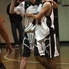 Manchester: Kyle Donovan, left, and Zeke Gillette celebrate Manchester Essex's overtime win against Hamilton-Wenham last night, which clinches a spot in the state tournament. Photo by Kate Glass/Gloucester Daily Times Tuesday, February 3, 2009