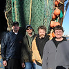 The crew of the Teresa Marie IV that sngged the unusual lobster (left to right) Justin Bowley, Rob Scannon, Kevin and Capt. Tom Simpson -- all from Portland, Maine. Photo by Peter K Prybot