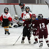 Gloucester:  Cape Ann mites players, from left, Luke Sargent, Matthew Tumbiolo, and Matthew Connelly celebrate after the first goal for their team was scored while playing against a team from Westmount, Quebec during the Sal Grasso Friendship Tournament at Dorothy Talbot Rink Saturday afternoon.  Despite their efforts the Canadians won this game 2-1.   Mary Muckenhoupt/Gloucester Daily Times